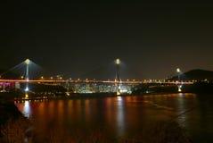 Κτήριο και ποταμός γεφυρών με τους λαμπτήρες οδών τη νύχτα Στοκ Εικόνες
