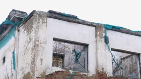 Κτήριο, κατοικία στην ερείπωση, κατεδάφιση του σπιτιού απόθεμα βίντεο