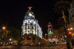 Κτήριο μητροπόλεων ή μητρόπολη Edificio στη διατομή Calle de Alcala και Gran μέσω των οδών Μαδρίτη Ισπανία στοκ φωτογραφίες με δικαίωμα ελεύθερης χρήσης