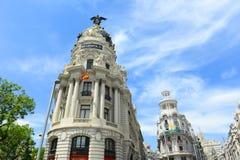 Κτήριο μητροπόλεων σε Gran Vía, Μαδρίτη, Ισπανία στοκ εικόνες