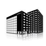 Κτήριο νοσοκομείων πόλεων σκιαγραφιών με την αντανάκλαση Στοκ Εικόνα