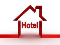Κτήριο ξενοδοχείων, τρισδιάστατες εικόνες Στοκ Εικόνες