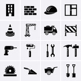 Κτήριο, οικοδόμηση και εικονίδια εργαλείων Στοκ εικόνα με δικαίωμα ελεύθερης χρήσης