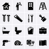 Κτήριο, οικοδόμηση και εικονίδια εργαλείων Στοκ φωτογραφία με δικαίωμα ελεύθερης χρήσης