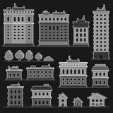 Κτήριο πόλεων στα μονοχρωματικά επίπεδα εικονίδια ύφους καθορισμένα διάνυσμα ελεύθερη απεικόνιση δικαιώματος