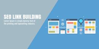 Κτήριο συνδέσεων για το seo, ψηφιακό μάρκετινγκ, προώθηση ιστοχώρου, βελτιστοποίηση μηχανών αναζήτησης, ικανοποιημένη, blogging έ ελεύθερη απεικόνιση δικαιώματος