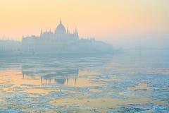 Κτήριο του Κοινοβουλίου στη ρόδινη ελαφριά ομίχλη χειμερινού πρωινού, Βουδαπέστη στοκ εικόνα με δικαίωμα ελεύθερης χρήσης