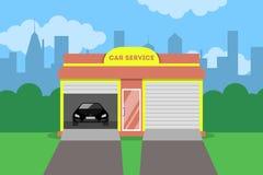 Κτήριο υπηρεσιών αυτοκινήτων Αυτοκινητική αποτύπωση και επισκευή διανυσματική απεικόνιση