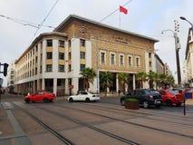 Κτήριο Al Μαγκρέμπ τράπεζας στη Καζαμπλάνκα, Μαρόκο Στοκ εικόνες με δικαίωμα ελεύθερης χρήσης