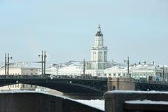 Κτήριο Kunstkamera και άποψη της γέφυρας παλατιών το χειμώνα Στοκ Φωτογραφίες