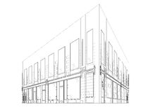 Κτήριο Wireframe Στοκ φωτογραφία με δικαίωμα ελεύθερης χρήσης