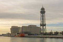 Κτήριο World Trade Center και πύργος τρόπων καλωδίων Βαρκελώνη, Cata Στοκ φωτογραφία με δικαίωμα ελεύθερης χρήσης