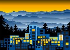 Κτίρια γραφείων στο ηλιοβασίλεμα στο πεύκο δασικό, εξελικτικός Απεικόνιση αποθεμάτων