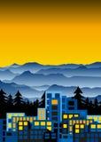 Κτίρια γραφείων στο ηλιοβασίλεμα στα ομιχλώδη βουνά, εξελικτικά Διανυσματική απεικόνιση