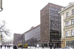 Κτίριο γραφείων στο κέντρο της Μόσχας, που σχεδιάζεται από τον αρχιτέκτονα Le Corbusier στοκ φωτογραφίες