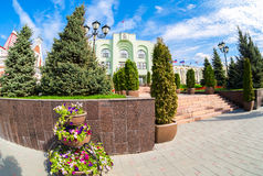 Κτίριο γραφείων της διοίκησης πόλεων της Samara στην ηλιόλουστη ημέρα Στοκ Εικόνες