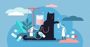 Κτηνιατρική διανυσματική απεικόνιση επαγγέλματος Μικροσκοπική έννοια προσώπων υγείας στοκ εικόνα