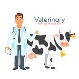 Κτηνιατρικός γιατρός με την αγελάδα ελεύθερη απεικόνιση δικαιώματος