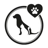 Κτηνιατρικό έμβλημα ενός σκυλιού και μιας γάτας Λογότυπο σκιαγραφιών σκυλιών και γατών για την επιχείρηση κατοικίδιων ζώων στοκ εικόνες με δικαίωμα ελεύθερης χρήσης