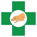 Κτηνιατρικό σημάδι του σταυρού με την εικόνα της ανάκτησης του σκυλιού στοκ φωτογραφίες
