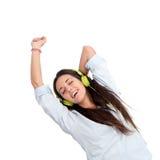 κτυπήστε τα χορεύοντας ακουστικά κοριτσιών Στοκ Εικόνα