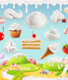 Κτυπημένη κρέμα, γάλα, απεικόνιση κρέμας Στοκ Φωτογραφίες