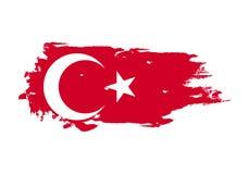 Κτύπημα βουρτσών Grunge με τη εθνική σημαία της Τουρκίας Σημαία ζωγραφικής Watercolor Σύμβολο, αφίσα, έμβλημα Διάνυσμα που απομον ελεύθερη απεικόνιση δικαιώματος
