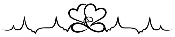 Κτύπος της καρδιάς, δύο καρδιές με το άπειρο διανυσματική απεικόνιση