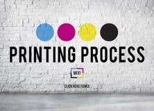 Κυανή ροδανιλίνης κίτρινη βασική έννοια διαδικασίας CMYK εκτύπωσης στοκ εικόνες