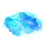 Κυανοί και μπλε λεκέδες watercolor Φωτεινό στοιχείο χρώματος για το αφηρημένο καλλιτεχνικό υπόβαθρο απεικόνιση αποθεμάτων