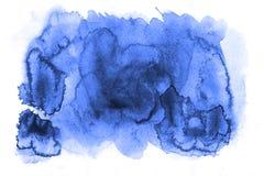 Κυανό μπλε άμορφο αφηρημένο σημείο watercolor Χρωματισμένοι λεκέδες με Στοκ Εικόνα