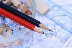 Κυβερνήτες μολυβιών και ηλεκτρικό σχέδιο Στοκ Εικόνες