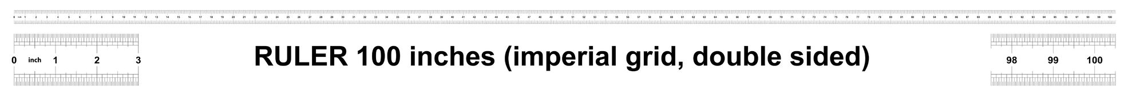 Κυβερνήτης 100 ίντσες αυτοκρατορικός Η τιμή τμήματος είναι 1/32 ίντσα Διπλάσιο κυβερνητών που πλαισιώνεται Ακριβές μετρώντας εργα διανυσματική απεικόνιση