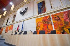 Κυβερνητικός πάγκος στο αυστριακό Κοινοβούλιο Στοκ εικόνες με δικαίωμα ελεύθερης χρήσης