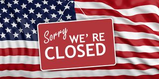 Κυβερνητικό κλείσιμο Θλιβερός εμείς σχετικά με κλειστός στο υπόβαθρο αμερικανικών σημαιών τρισδιάστατη απεικόνιση ελεύθερη απεικόνιση δικαιώματος