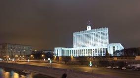 Κυβερνητικό σπίτι της Ρωσικής Ομοσπονδίας τη νύχτα φιλμ μικρού μήκους