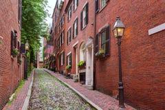 Κυβόλινθος Βοστώνη Hill αναγνωριστικών σημάτων οδών βελανιδιών Στοκ εικόνα με δικαίωμα ελεύθερης χρήσης