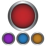 Κυκλικά, μεταλλικά κουμπί/εικονίδιο Τέσσερις παραλλαγές χρώματος Απομονωμένος στο λευκό ελεύθερη απεικόνιση δικαιώματος