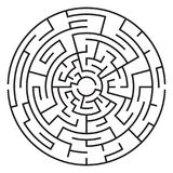 Κυκλικός λαβύρινθος που απομονώνεται στο άσπρο υπόβαθρο μέσο διανυσματική απεικόνιση