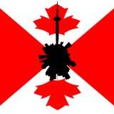 Κυκλικός ορίζοντας του Τορόντου με την καναδική απεικόνιση σημαιών ελεύθερη απεικόνιση δικαιώματος