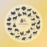 Κυκλικό διανυσματικό εικονίδιο που τίθεται σε ένα γραμμικό ύφος των σκιαγραφιών ζώων αγροκτημάτων διανυσματική απεικόνιση