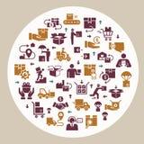 Κυκλικό λογιστικό σύνολο παράδοσης προτύπων στο επίπεδο ύφος Διανυσματικά εικονίδια για τον Ιστό, infographic ή την τυπωμένη ύλη απεικόνιση αποθεμάτων