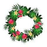 Κυκλικό πλαίσιο της τροπικής διανυσματικής εικόνας σχεδίου στοιχείων λουλουδιών και εγκαταστάσεων ελεύθερη απεικόνιση δικαιώματος