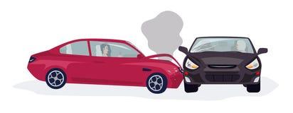 Κυκλοφορία ή ατύχημα ή τροχαίο ατύχημα μηχανοκίνητων οχημάτων που απομονώνεται στο άσπρο υπόβαθρο Δευτερεύουσα σύγκρουση δύο αυτο απεικόνιση αποθεμάτων