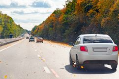 Κυκλοφορία των αυτοκινήτων μέχρι την ημέρα κατά μήκος ενός πολυάσχολου δρόμου μεταξύ των δέντρων φθινοπώρου και των πετώντας κίτρ Στοκ Φωτογραφία