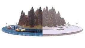 Κυκλοφορία φθινοπώρου/χειμώνα, που απομονώνονται στο άσπρο υπόβαθρο, τρισδιάστατη απεικόνιση στοκ εικόνες