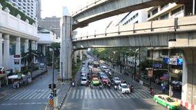 Κυκλοφοριακή συμφόρηση στην περιοχή Centralworld, 19,2015 Ιανουαρίου στη Μπανγκόκ, Ταϊλάνδη φιλμ μικρού μήκους