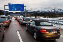 Κυκλοφοριακή συμφόρηση στο A7 Autobahn στη Γερμανία στοκ φωτογραφία