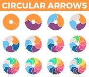 Κυκλικά βέλη για το infographics με 1 - 12 μέρη Στοκ Εικόνες