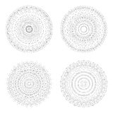 Κυκλικά πρότυπα σχεδίου Στρογγυλά διακοσμητικά σχέδια Σύνολο δημιουργικού Mandala που απομονώνεται στο λευκό Στοκ εικόνα με δικαίωμα ελεύθερης χρήσης